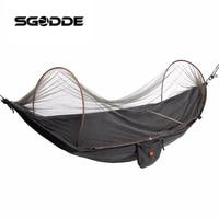 SGODDE Outdoor Parachute Cloth Fabric Hammock Portable Camping Hammock With Mosquito Nets Single Person Hammock Swing