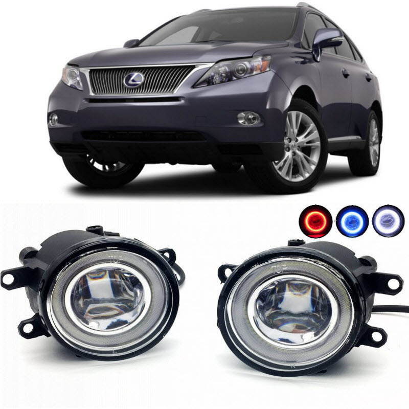 2 in 1 LED Angel Eyes DRL 3 Colors Daytime Running Lights Cut-Line Lens Fog Lights Lamp for Lexus RX350 RX450h for opel astra h gtc 2005 15 h11 wiring harness sockets wire connector switch 2 fog lights drl front bumper 5d lens led lamp