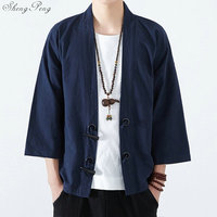 Traditional japanese mens clothing mens yukata japan kimono men traditional chinese blouse chinese top Q695