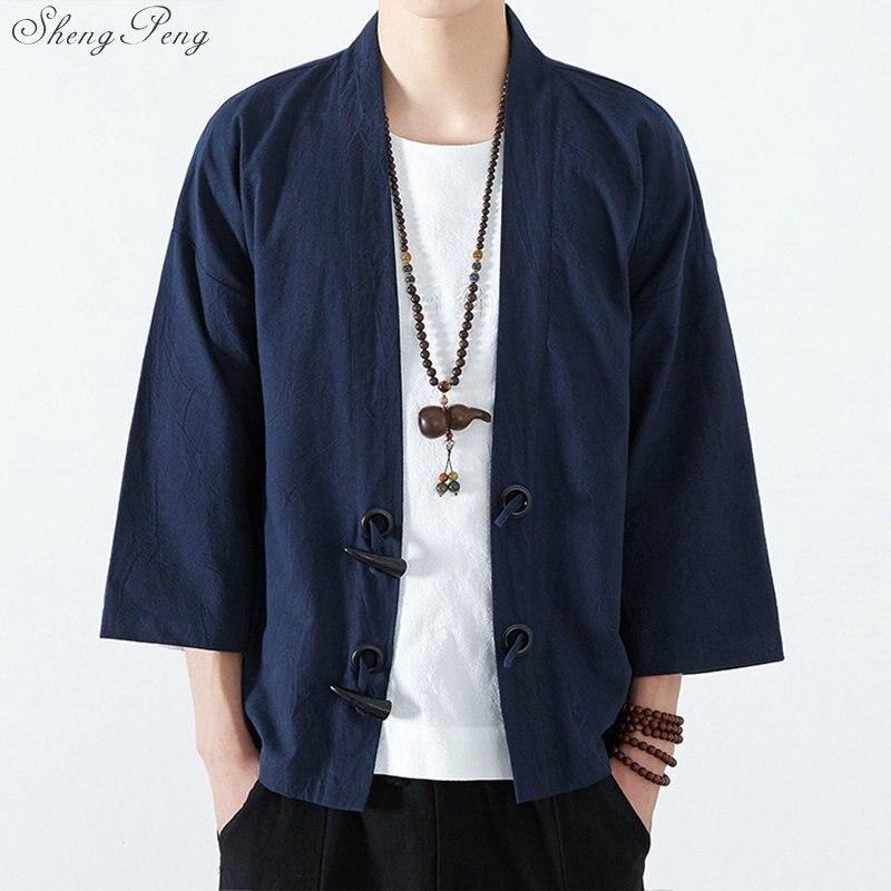 Traditionnel japonais hommes vêtements hommes yukata japon kimono hommes traditionnel chinois blouse chinois haut Q695