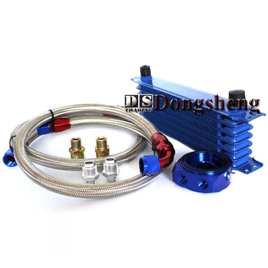 Универсальный 7 рядов масляный радиатор + Масляный фильтр Сэндвич адаптер синий + СС нейлон нержавеющая сталь плетеный шланг AN10