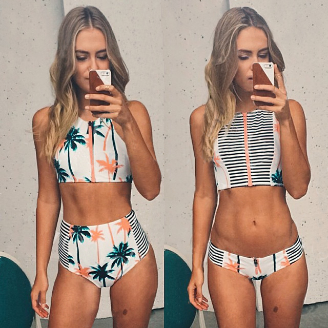 1ada2d5df1b Mouse over to zoom in. Print Floral Palm Tree Bikini Set,High Neck Tank  Zipper Striped ...