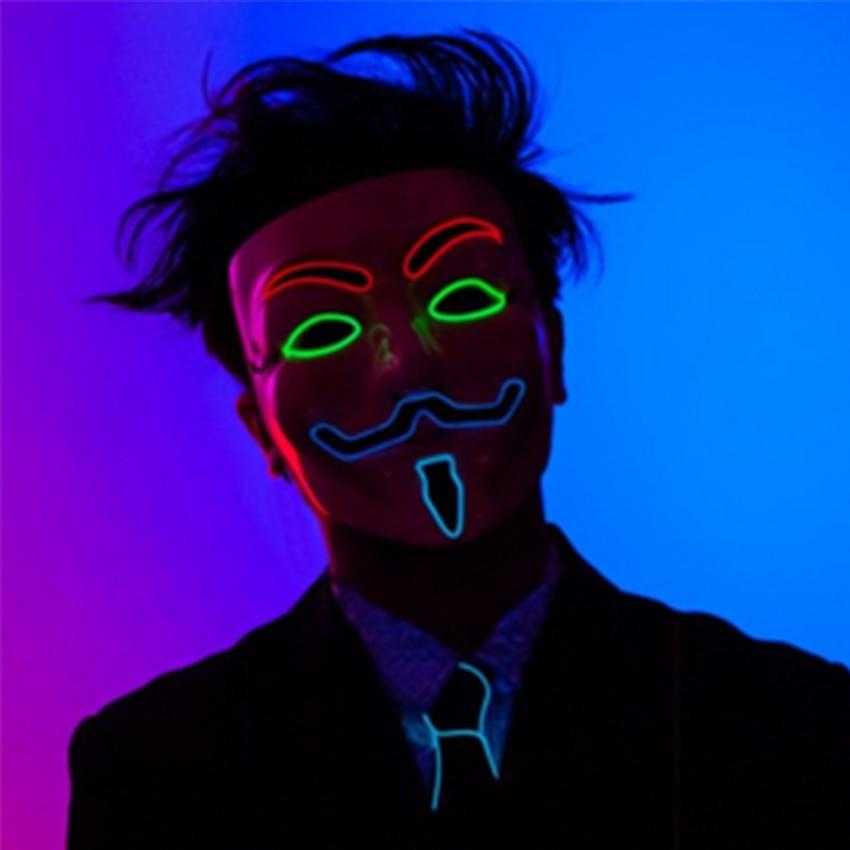 LED Clothing Halloween Magician EL Masks Luminous Helmet Light Up LED Guy Fawkes V For Vendetta Mask - 4 Colors