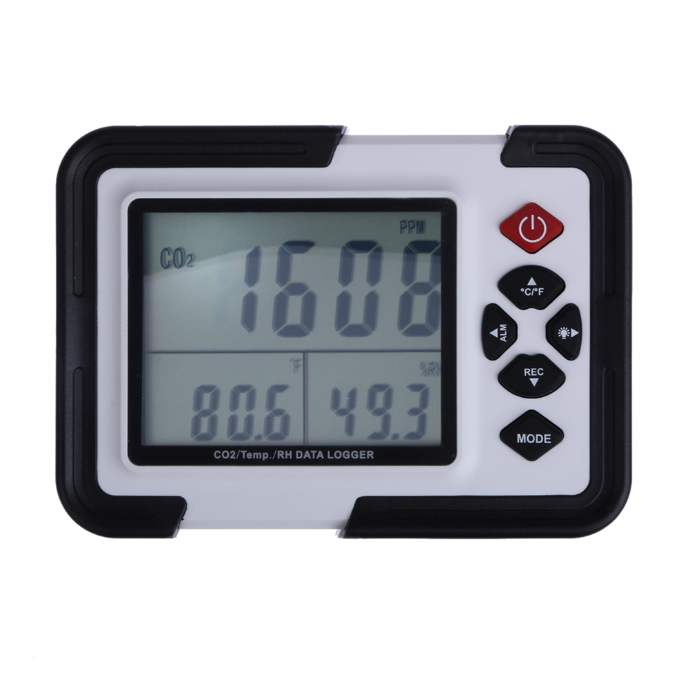 3.5'' 8.9cm LCD with Backlight 9999ppm Carbon Dioxide CO2 Monitor Detector Air Temperature Humidity Data Logger digital indoor air quality carbon dioxide meter temperature rh humidity twa stel display 99 points made in taiwan co2 monitor