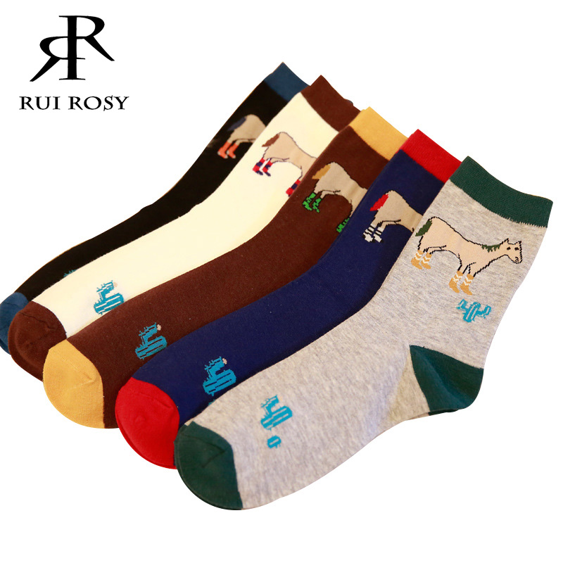 Creative New Men Socks Cartoon Horse Cactus Colorful Leisure Stitching Color Cotton Male Funny Socks