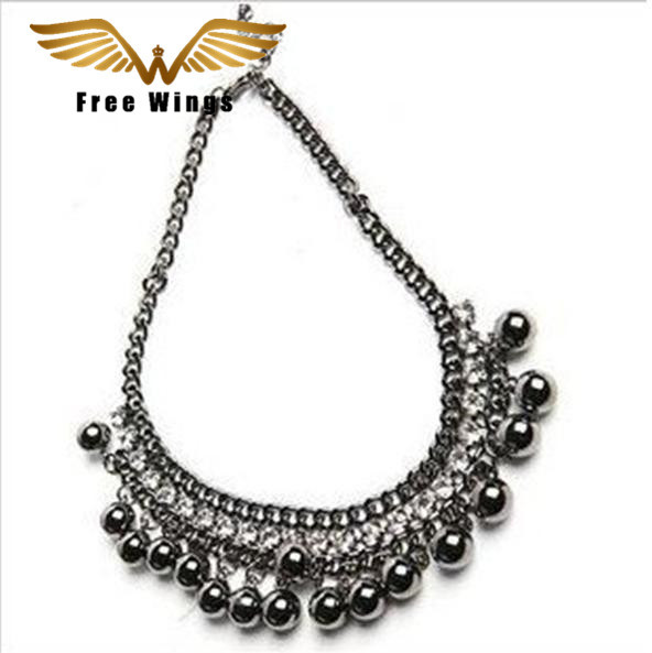 Antique Vintage Black Balls Crystal Necklaces Fashion   Women Jewelry   N021