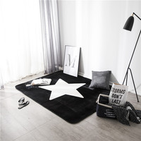 Floor Mat Black White Stars Print Pattern 1pcs Carpet Bathroom Mat Bathroom Carpet Kitchen Mat Household Goods Mat