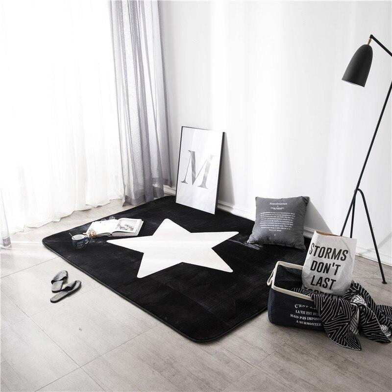 Tapis de sol noir blanc étoiles motif d'impression 1 pièces tapis salle de bain tapis salle de bain tapis cuisine tapis articles ménagers tapis