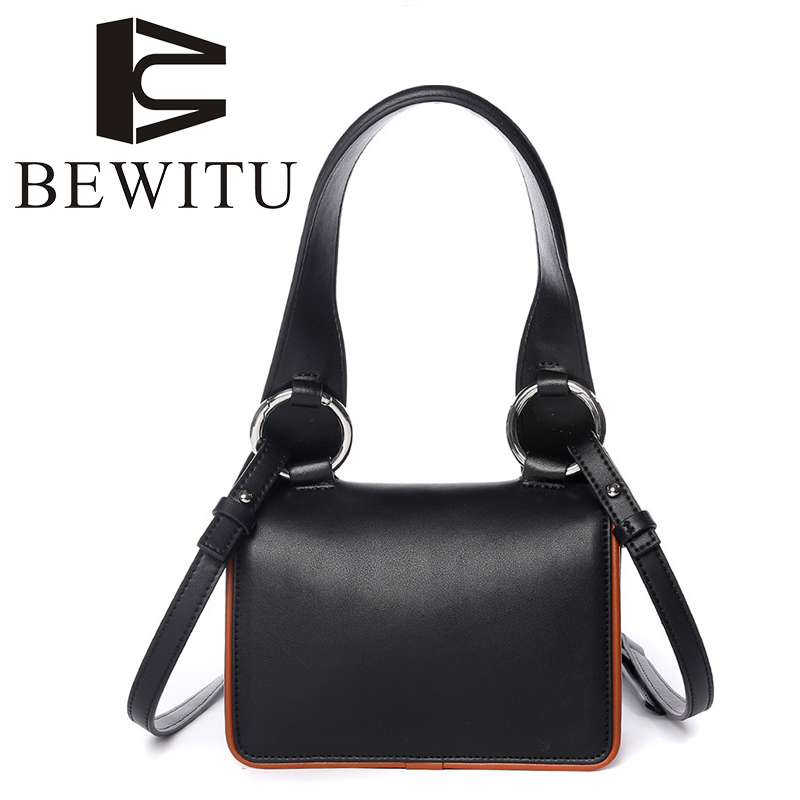 BEWITU 2018 New Leather Handbags Europe and The United States Fashion Wide Shoulder Strap Shoulder Bag Small Party Flap the new winter handbags in europe and the tide crocodile grain female bag brand shell package one shoulder inclined shoulder bag