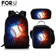 FORUDESIGNS Baseball School Bag Sets/3PCS Student Backpack for Boys Kids Rucksack Cool Bookbag Satchel Daypack Mochila Wholesale