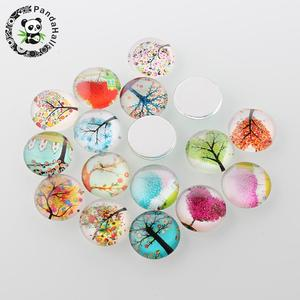 Image 3 - 12mm Tree of Life Printed Half Round Dome Glass Cabochons Mixed Color Jewelry Findings for DIY 200pcs