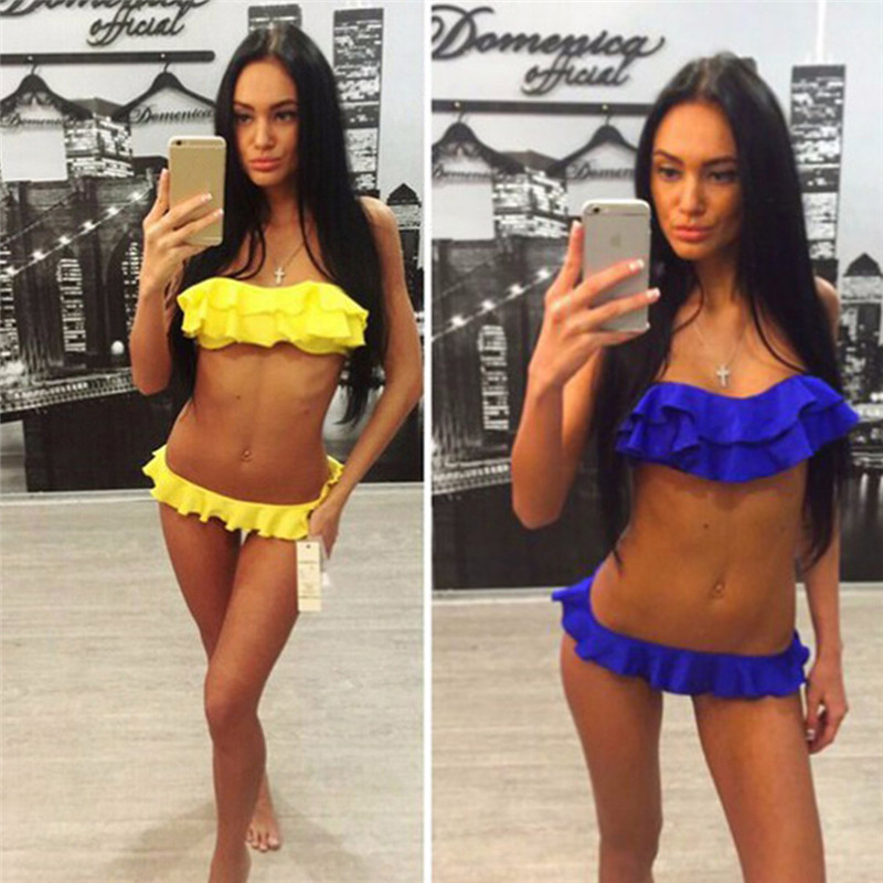 2018 Women Sexy Pleated Ruffle Biquini Push Up Bikini Set Brasileiro Bandeau Halter Swimsuits Female Flounced Low Waist Swimwear цена 2017