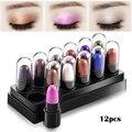 12 Colors Pigmento Maquiagem Glitter Eyes Makeup Eyeshadow Stick Waterproof Shimmer Eye Shadow Sets Cosmetic