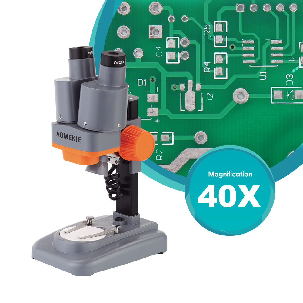 AOMEKIE 40X Microscopio estéreo binocular Top LED PCB Soldadura Mineral Specimen Watching Kids Science Education Herramienta de reparación de teléfonos