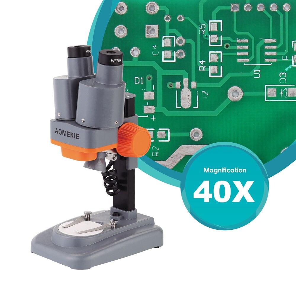 AOMEKIE 40X Binocular estéreo microscopio Top LED PCB soldadura Mineral espécimen ver niños ciencia educación teléfono herramienta de reparación
