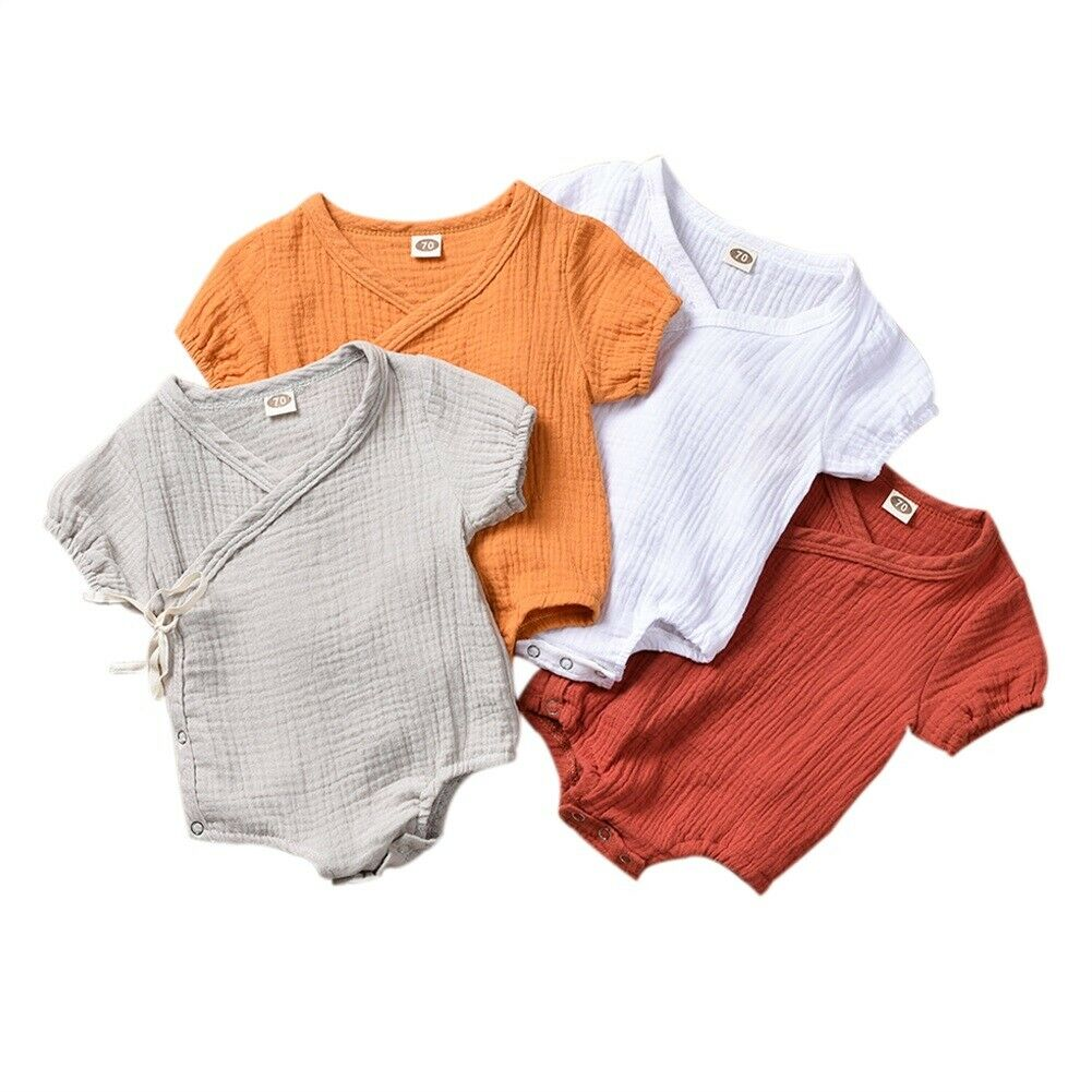 0-18M Kids Newborn Baby Boy Girl Cotton And Linen Romper Jumpsuit Short Sleeve Side Button Front Tie Summer Clothes Outfit