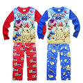 2016 Christmas Pajamas set New Kids Cartoon POKEMON GO printed Patrol pattern long sleeve sleepwear for boys girls retail