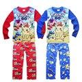 2016 Natal Pijamas set New Miúdos Dos Desenhos Animados POKEMON IR impresso padrão de Patrulha de manga longa sleepwear para meninos das meninas de varejo