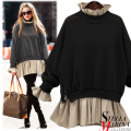 New European Women Winter Black Grey Solid Sweater Double Layered Inside Top O-Neck Stand Collar Full Sleeve Pullover 2082