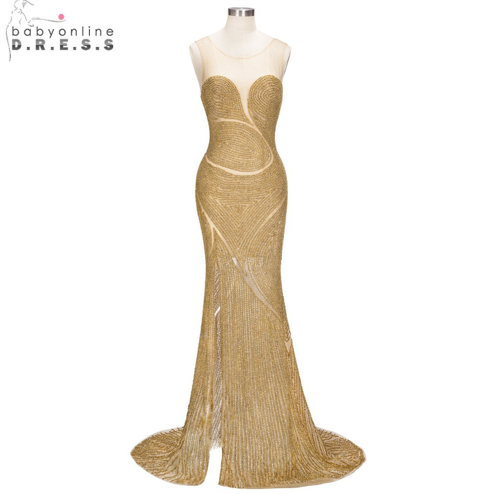 Luxurious Heavy Beaded Mermaid   Prom     Dresses   High Slit 2019 Party   Dresses   Sexy Sheer Back Shinny Evening   Dress   vestido de festa