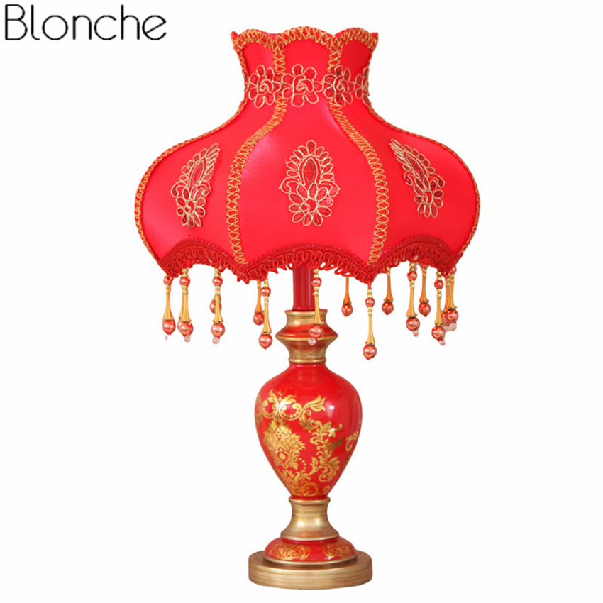 Red Wedding Table Lamp Led Desk Light Fabric Lampshade for Bedroom Bedside Lamp Study Luminaria Home Lighting Fixtures Decor E27Red Wedding Table Lamp Led Desk Light Fabric Lampshade for Bedroom Bedside Lamp Study Luminaria Home Lighting Fixtures Decor E27