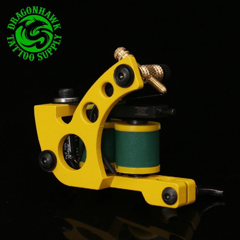 New Professional Shader And Liner Tattoo Machine 10 Warps Coils Cast Iron Yellow Tattoo Gun Handmade Tattoo Machine cast iron alloy dragonfly tattoo machine gun yellow