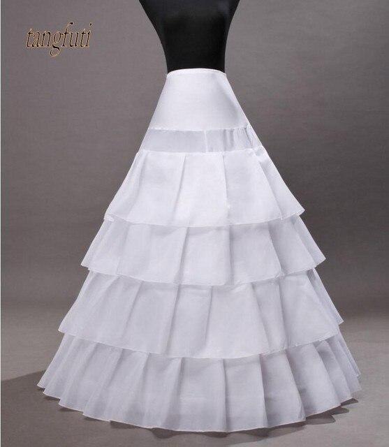 965ca15f8106 Quatro Camada Branco Longo Vestidos Mulheres jupon crinolina Underskirt  Anáguas Para vestido de Noiva vestido longo