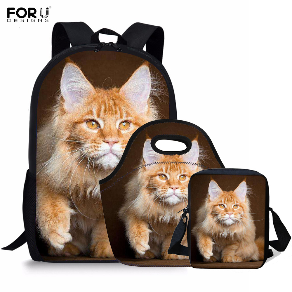 FORUDESIGNS Maine Coon Cat Ginger Prints School Bags For Teenage Girls Boys 3D Animal Backpacks Student Casual Bookbag 3Pcs/Set
