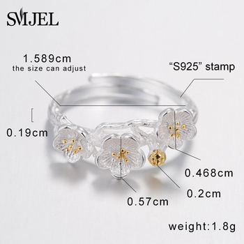 SMJEL Valentine's Day New Peach blossom Flower Rings for Women Anel Female Ring set Jewelry Wedding Gift brincos 2017 SYJZ061 1