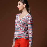 Autumn And Winter Women S Wool Cardigan Color Block Stripe Cashmere Cardigan Loose Sweater Outerwear Short