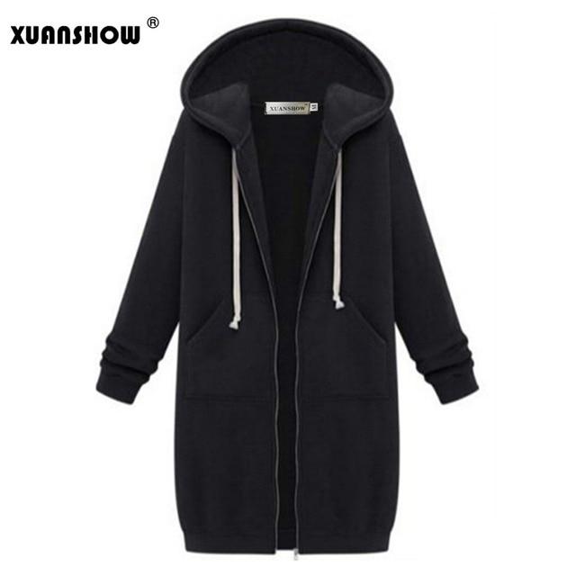 XUANSHOW Women's Winter Jeckets 2018 Fashion Zipper Feamle Outwear Long Sleeve Hooded Women Coat Plus Size Warm Zip-up S-5XL