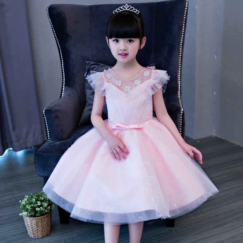 2017Korean Kids Girl Birthday Party Wedding Princess Tutu Pink Dress Clothes Children Bridesmaid Elegant Costume Ball Gown Dress цены онлайн