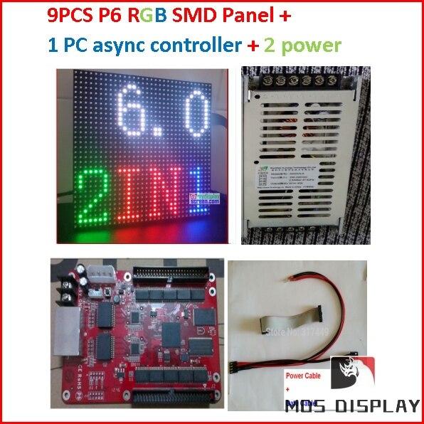P6 светодио дный дисплей комплекты, 9 шт. полный цвет smd 2in 1 модуль + 1 Асинхронный контроллер + 2 HQ источник питания, Крытый светодио дный диспле