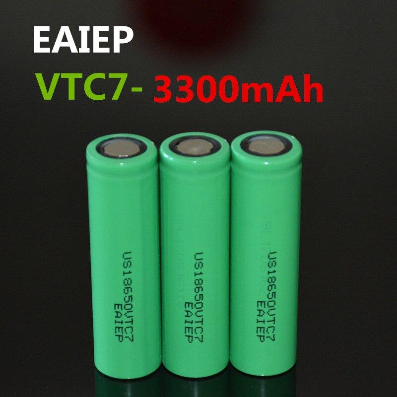 3 шт. EAIEP 100% оригинальный US18650VTC7 18650 3300 мАч 30A литий-ионный перезаряжаемый аккумулятор мощный безопасный аккумулятор большой емкости