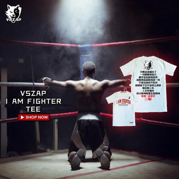 VSZAP Fight Short Sleeved T-shirt For Men Summer Fighting Sport  Sport Fitness Suit Training Boxing MMA Cotton