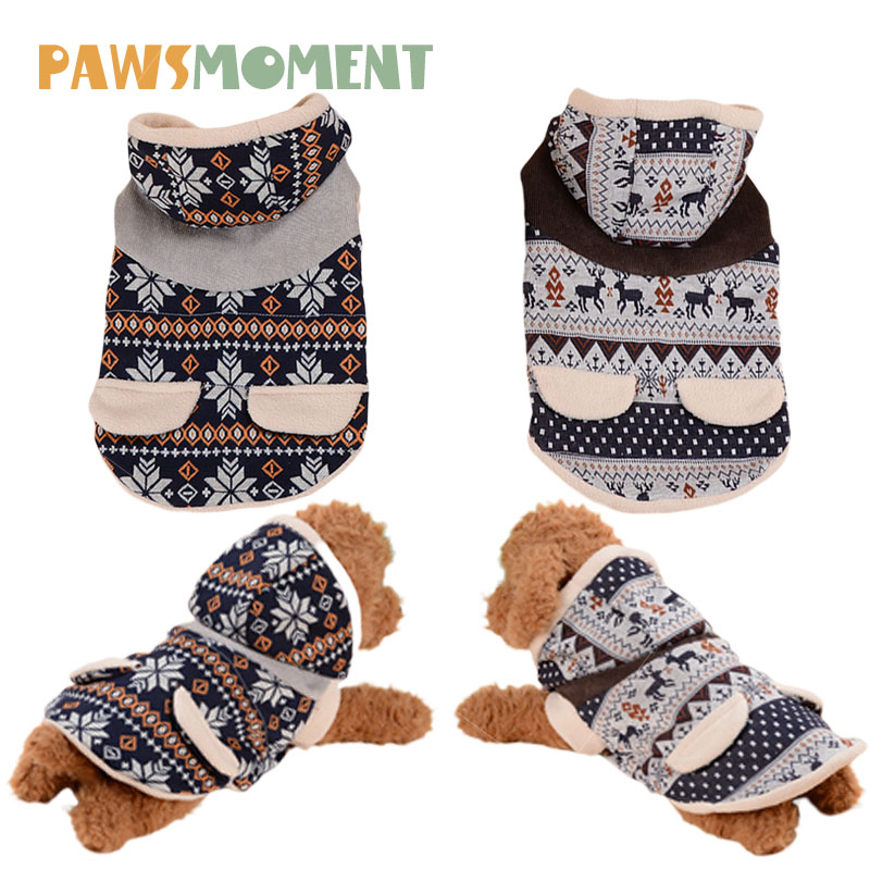 Pet Clothing Fawn Hooded Snowflake Dog Clothes for Small Dogs Chihuahua French Bulldog Autumn Winter Costume Pug Warm Outfit