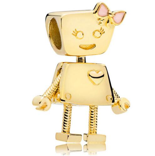New Year 925 Sterling Silver Bead Charm Gold Color Shine Cute Bella Bot Robot Beads Fit Pandora Bracelet Bangle Diy JewelryNew Year 925 Sterling Silver Bead Charm Gold Color Shine Cute Bella Bot Robot Beads Fit Pandora Bracelet Bangle Diy Jewelry