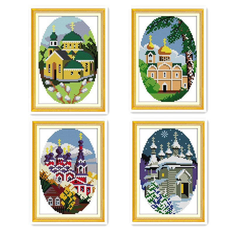 Joy Sunday Spring summer fall winter scenery cross stitch suite, seasons quilted diy diy handmade wall decoration embroidery