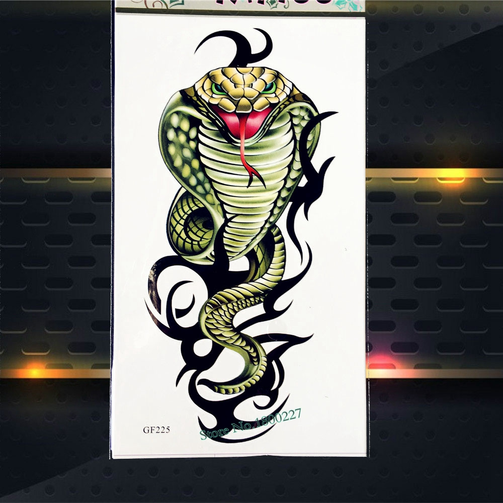 3D Naja Cobra Temporary Tattoo Men Body ART Fake Flash Waterproof Tattoo Snake Print Sticker PGF225 Children Body Art Painting