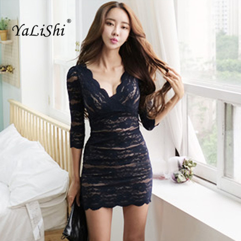 2019 Spring Party Sexy Women Dress Office Bandage Vintage Vestidos Bodycon Dresses  Elegant 3/4 Sleeve V-Neck Slim Lace Dress