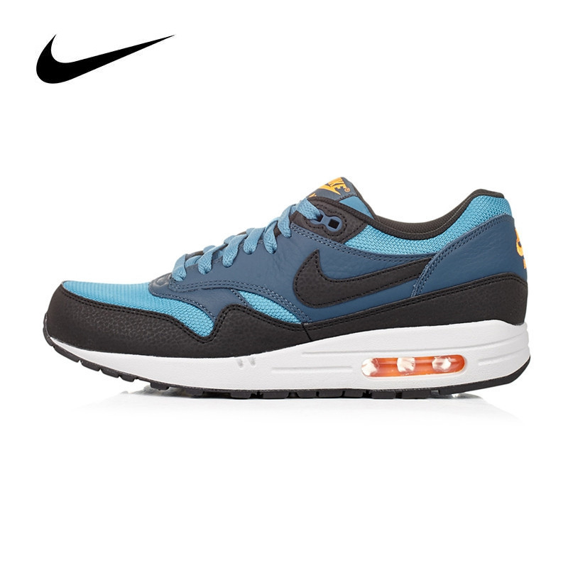 Original Authentic NIKE Breathable Air Max 1 Men's Running Shoes Sneakers Blue Red and Yellow 537383 Sports Outdoor Jogging