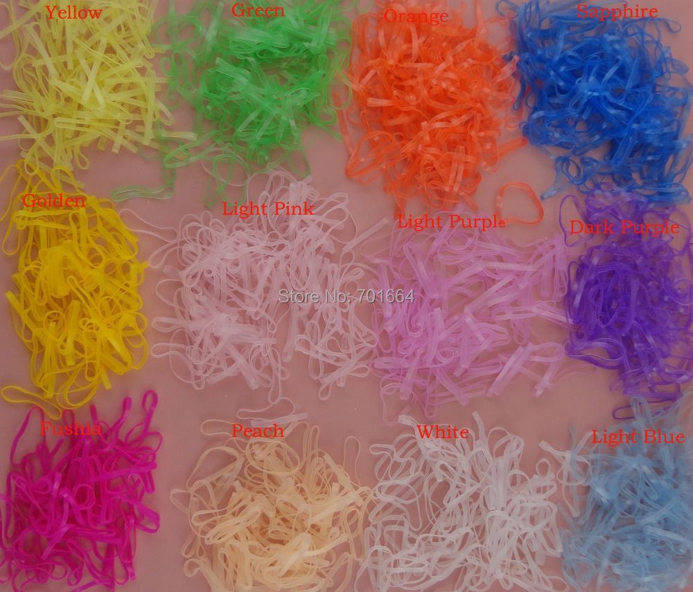 1000PCS Medium Size 6.0cm 2.35 muli-color Clear rubber Hairband for Rope Ponytail,Holder Elastic Hair Band,Ties Braids Plaits