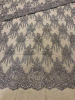 High end heavy beaded ,Limited Edition delicate heavy beaded gray bead lace fabric,Handmade haute couture cloth
