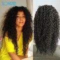 Мода Афро Кудрявый Вьющиеся Человеческих Волос Полный Парик Шнурка Девы бразильский Необработанные Реми Вьющиеся Волосы Кружева Перед Парики Для Черного женщины