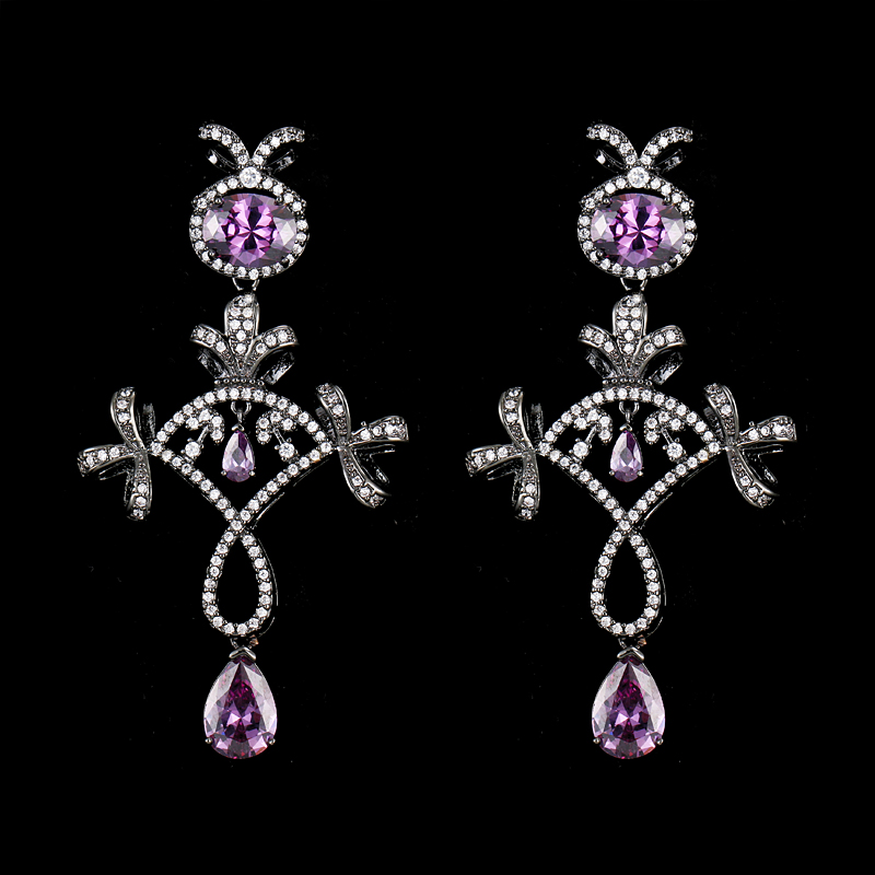Hot Sales Classic Jewelry Double Style Inlaid High Quality CZ Rhinestones Brincos Drop Earrings For Braide Wedding Gifts E-141