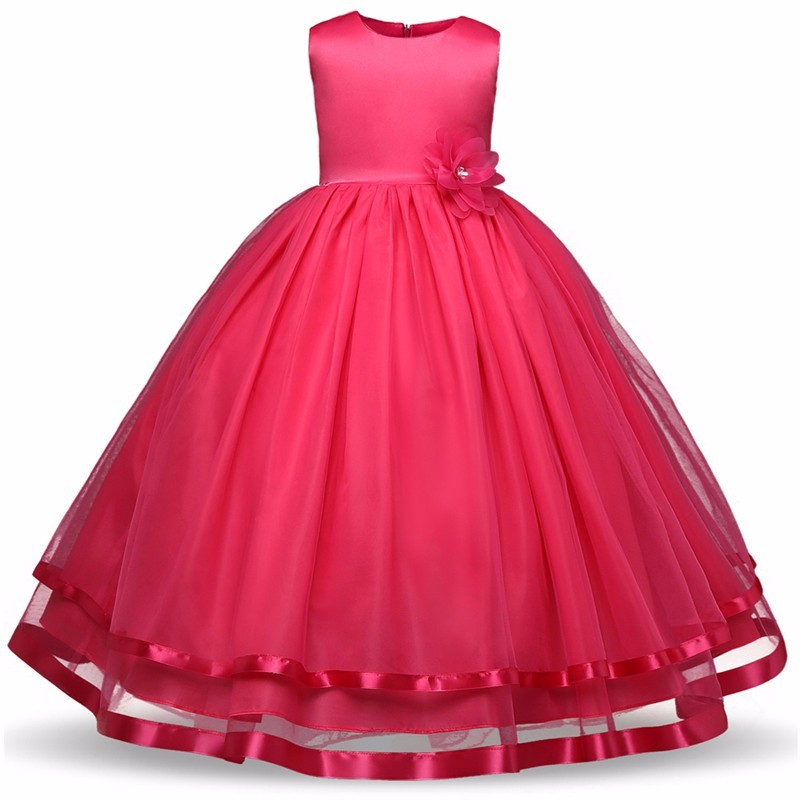 Flower Girls Dresses Children Princess Pageant Formal Wedding Dress Party Kids Clothes Girls Long Dress Bridesmaid Ball Gown flower girls dress embroidered sequin wedding pageant bridesmaid 2017 summer princess party dresses kids clothes size 7 14