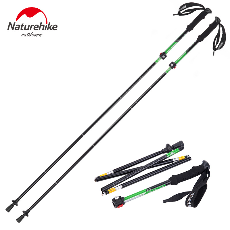 Naturehike Folding Trekking Pole Walking Stick 7075 Aluminum Hiking Poles Ultralight Climbing Stick Walking Cane NH15A023