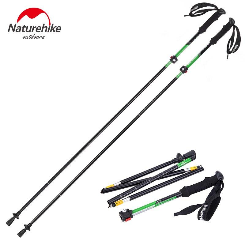 Naturehike 2PCS Nordic Walking Stick Hiking Poles Ultralight 7075 Aluminum Folding Trekking Pole Camping Climbing Walking Cane