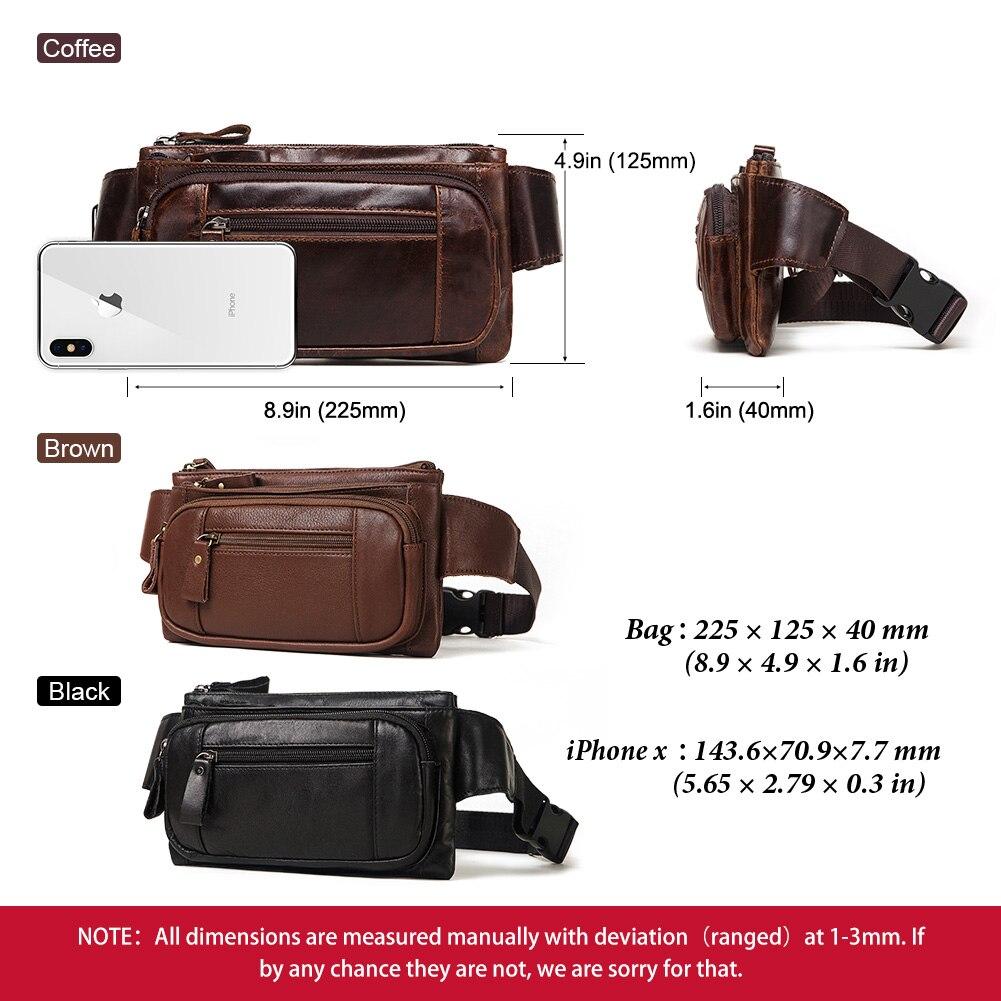 Image 5 - KAVIS Vintage 100% Cowhide Genuine Leather Men Waist Bag Male Packs Belt Loops Chest Bag Mobile Phone Holder Pouch Male PurseWaist Packs   -
