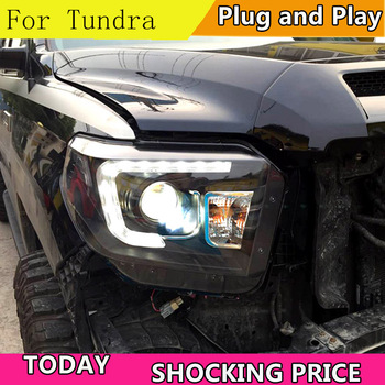 doxa Car Style For Toyota Tundra headlights For Sequoia 2014-2019 YEAR head lamp DRL front Bi-Xenon Lens Double Beam HID KIT